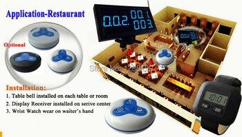 Wireless sistema de llamada restaurante con 22 piezas 433,92 MHz inalámbrico timbre y 2 piezas reloj localizador y 1 pantalla del receptor