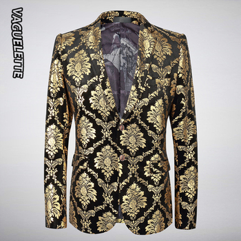 VAGUELETTE Gold Velvet Blazer Men Damask Floral Jackets Golden Paisley Suit Jacket Luxury Elegant Wedding Blazer For Men M-5XL