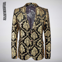 VAGUELETTE Gold Velvet Blazer Men Damask Floral Jackets Golden Paisley Suit Jacket Luxury Elegant Wedding Blazer For Men M 5XL