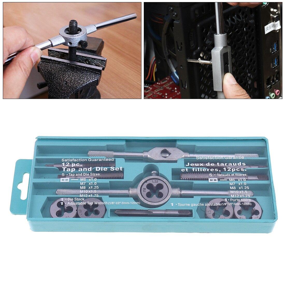 12 pz/set Multifunzione NC Screw Tap & Die Set Filettatura Esterna toccando Mano Tool Kit con M6 M7 M8 M10 M12 Rubinetti