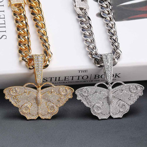 Image 5 - JINAO Hip Hop Gold Butterfly Pendant Necklace Micro Pave Zircon Iced Out Animal Jewelry Man Women Gift