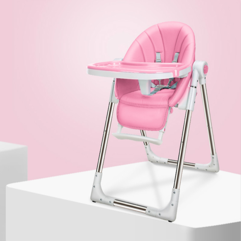Portable Foldable Adjustable Baby High Chair Child Feeding Chair With children Plate Three-point Seat Belt Highchair For 0-4T BB baby highchair foldable high chair for kids adjustable feeding chair with pu leather cushion dining table with wheels