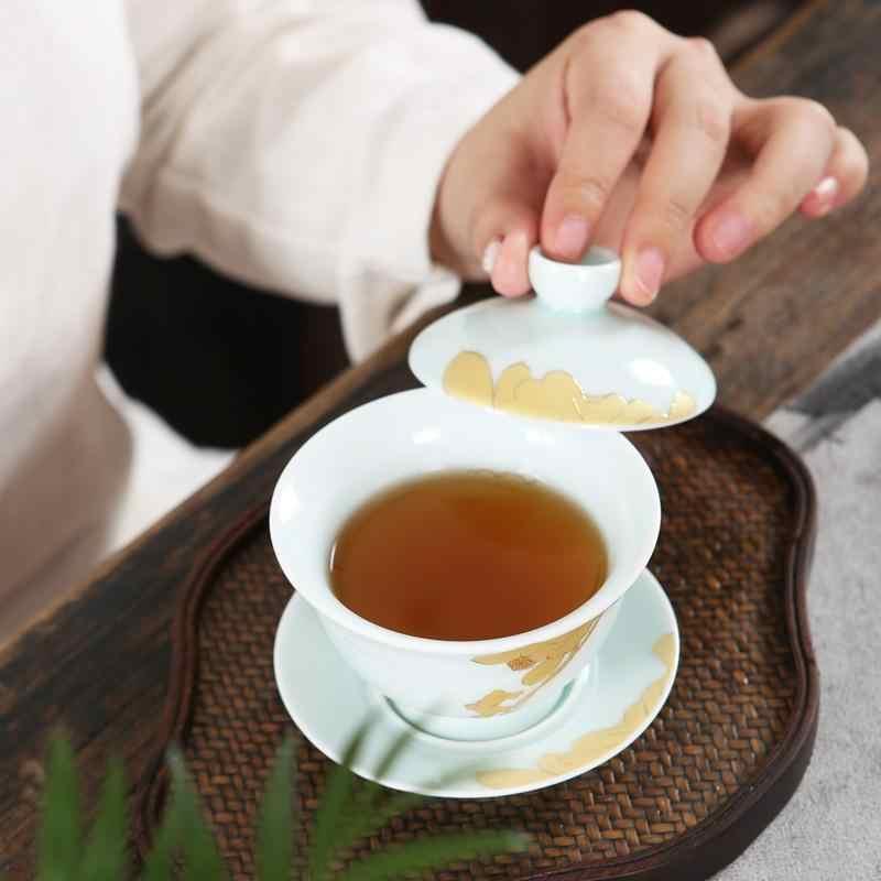 Фото Ручная окрашенный чайный Tureen керамический гайвань набор кунг фу винтажная
