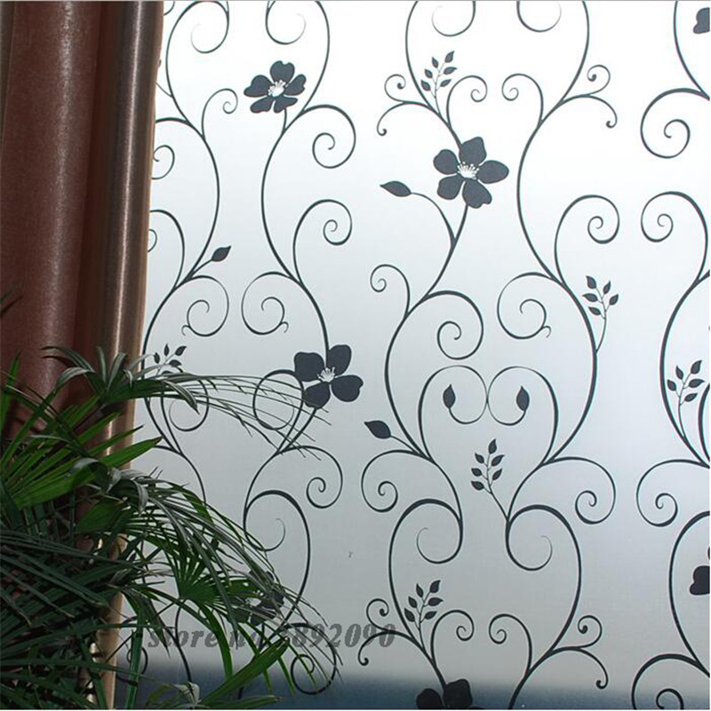 45*100cm/17.7″*39.4″ Frosted Opaque Glass Window Film Privacy Glass Stickers Home Decor Black&white Wrought Iron Flower ST029