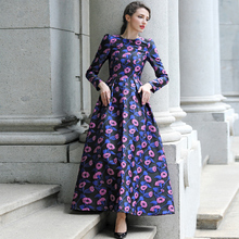 2016 S-3XL Fall Winter Vintage Flowers Maxi Dress Long Sleeve Muslim Ladies Evening Party Dresses Plus Size Women Clothing