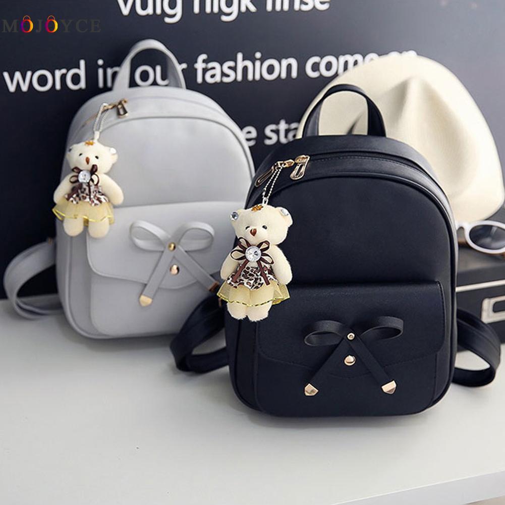 4 Pcs/set Women Backpack Small Size Fashion Teenage Girls Pu Leather Backpacks With Purses Mochila Feminina #4