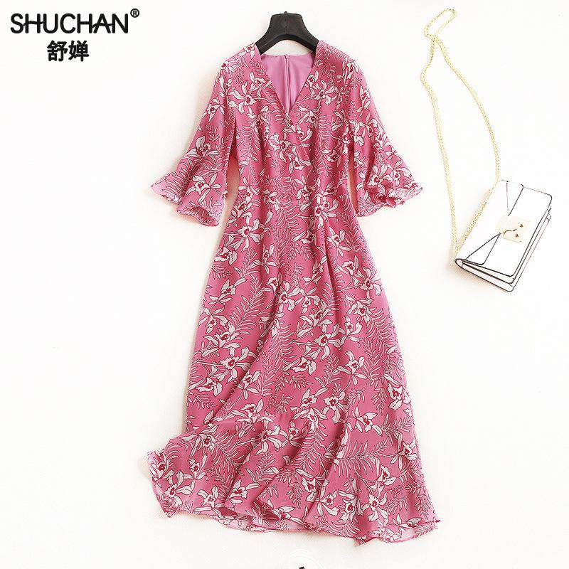 Здесь продается  SHUCHAN NATURAL SILK DRESS with print Half Butterfly Sleeve A-line V-neck summer dresses for women 2018 vestido woman new 2812  Одежда и аксессуары