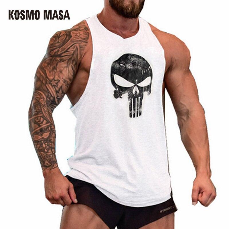 KOSMO MASA 2017 Schädel Bodybuilding Fitness Stringer Männer Tank Top Golds Gorilla Tragen Weste Unterhemd Tank Tops MC0117