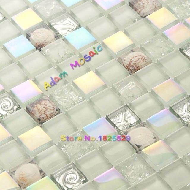 Iridescent Tiles Glass Mosaic Conch Tile Backsplash White Tiles - Glass-tile-backsplash-decoration