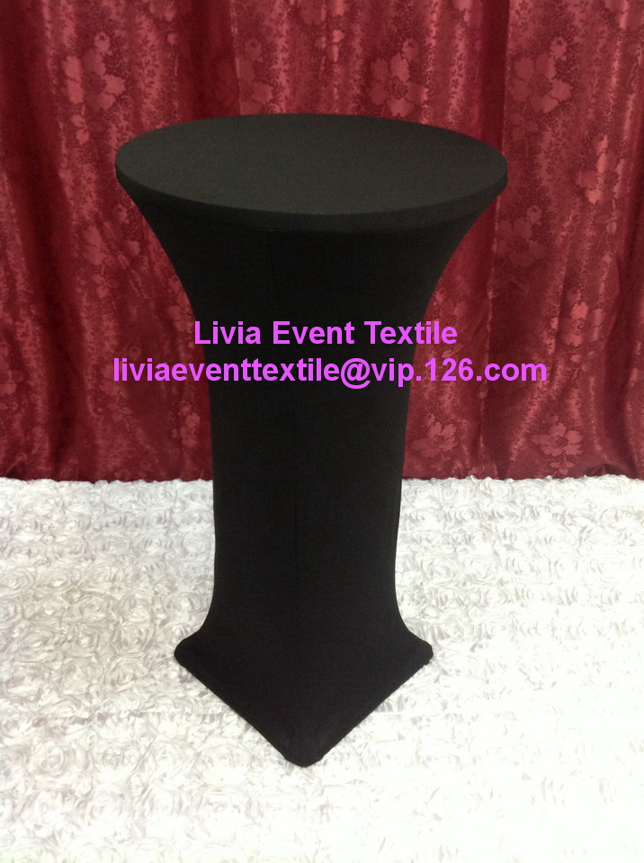 5pcs Free Shipping Extra Thicker #25 Black Lycra Cocktail Table Cover ,Lycra Dry Bar Cover Wedding Events &Party Decoration