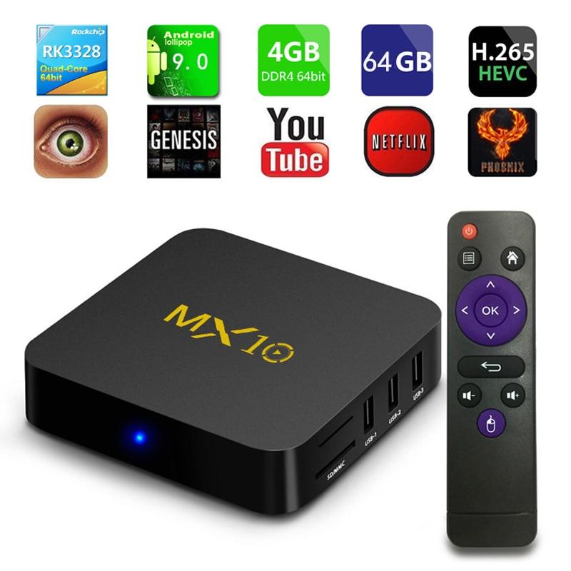 MX10 Smart TV BOX Android 9.0 Rockchip RK3328 DDR3 4GB Ram 64GB Rom IPTV Smart Set top Box 4K USB 3.0 HDR H.265 Media Player Box