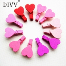 Home Wider Hot Selling 12Pcs Mini Heart Love Wooden Clothes Photo Paper Peg Pin Clothespin Craft Clips Free Shipping