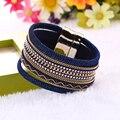 1PC 2017 High Quality Wide Multilayer Wrap Leather Bracelet Magnetic Tassel Bracelet Boho Bohemian Bracelets Bangle Men