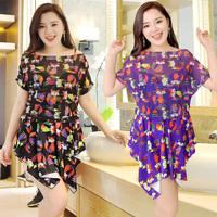 Large Size Sexy Swimwear Women Foxes Printing Padded Swimsuit Halter Boxer Dress Skirts Plus Size 5XL Underwire Bathing Suit