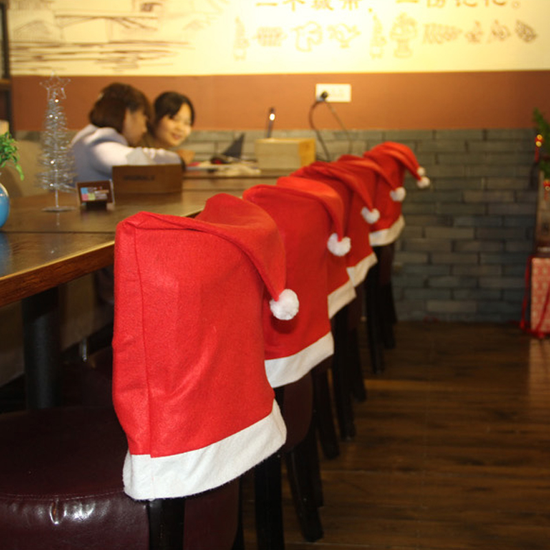 chair covers new year parson chairs overstock 6pcs santa claus hat christmas decoration kitchen dinner table decor home party supplies