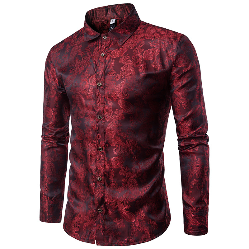 7f5a781c1f0 2019 Mens Hipster Paisley Floral Printed Slim Fit Silk Shirt Summer ...