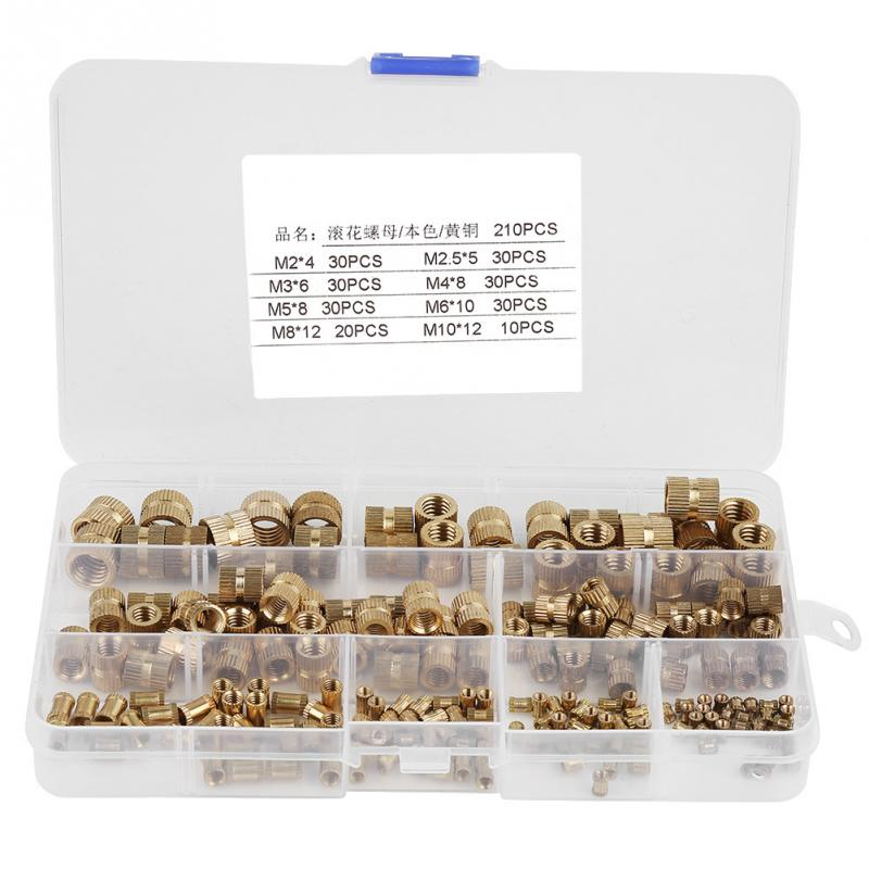 210pcs/set Brass Cylinder Knurled Threaded Round Insert Embedded Nuts With  Plastic Box