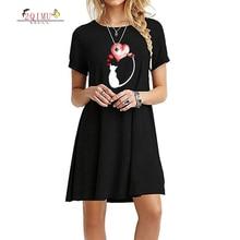 2QIMU Cartoon Pattern 2019 Summer Fashion Women Dress Quality O-Neck Casual Slim-Fitting Womens Knee-Length Vestidos