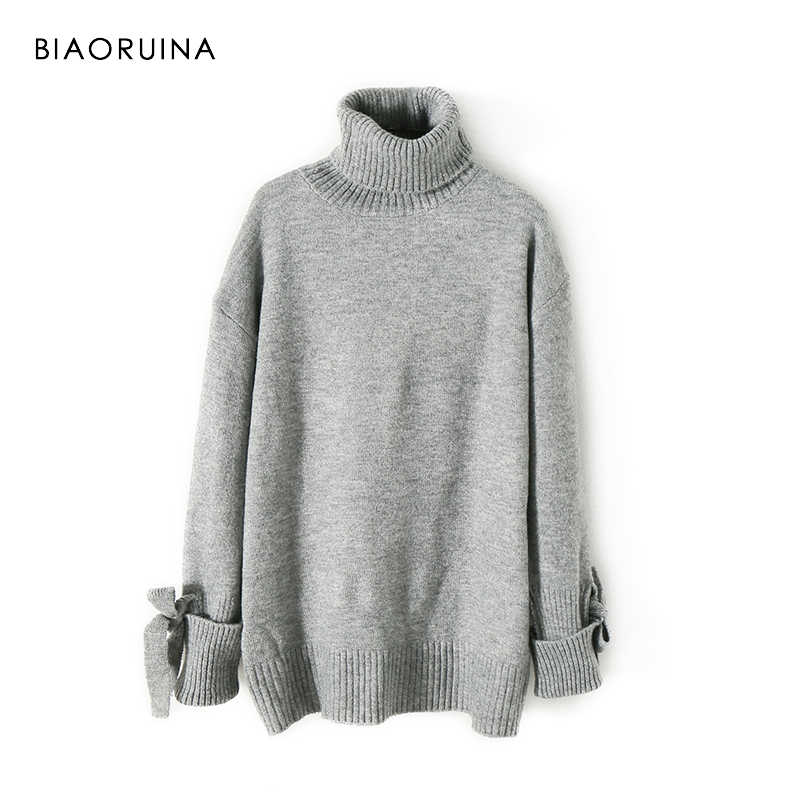 BIAORUINA Women's Fashion All-match Loose Knitted Sweater Ladies Casual Turtleneck Pullovers Bow Lace Up Warm Sweet Sweaters