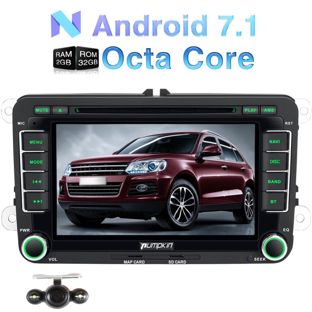 цены Pumpkin 2 Din Android 7.1 Car DVD Player GPS Navigation Qcta-core Car Stereo For VW/Skoda/Seat/Golf Wifi FM Rds Radio Headunit