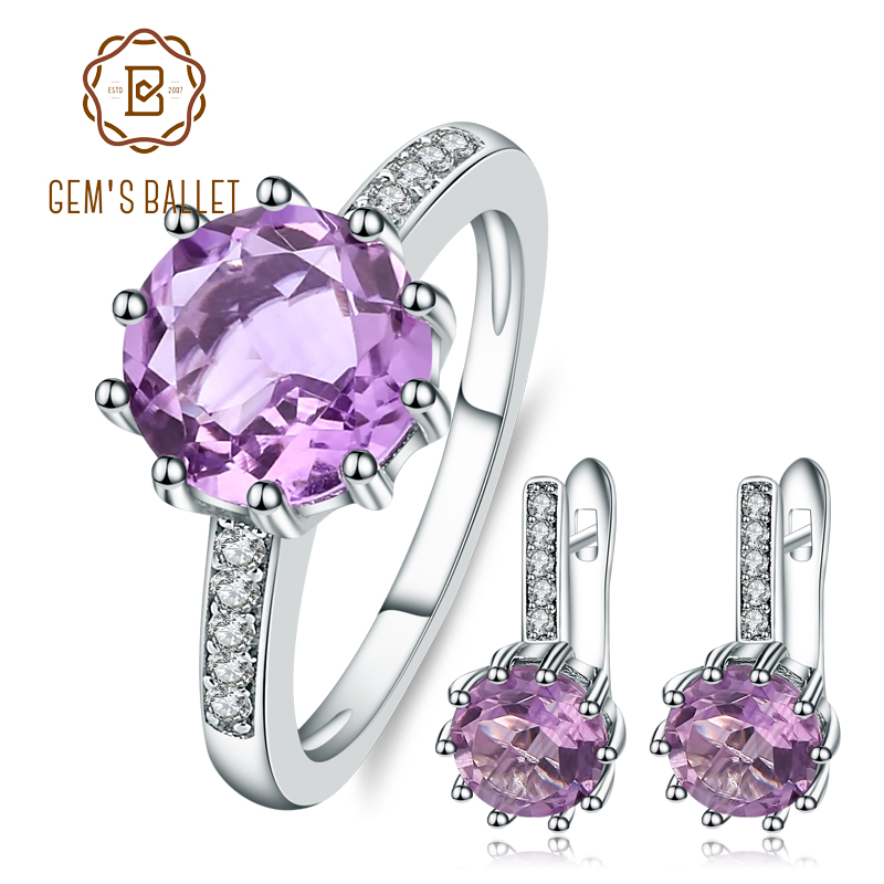 GEM'S BALLET 2.6ct Natural Amethyst Rings Clip Earrings Genuine 925 Sterling Silver Fine Jewelry Set For Women Luxury Gift