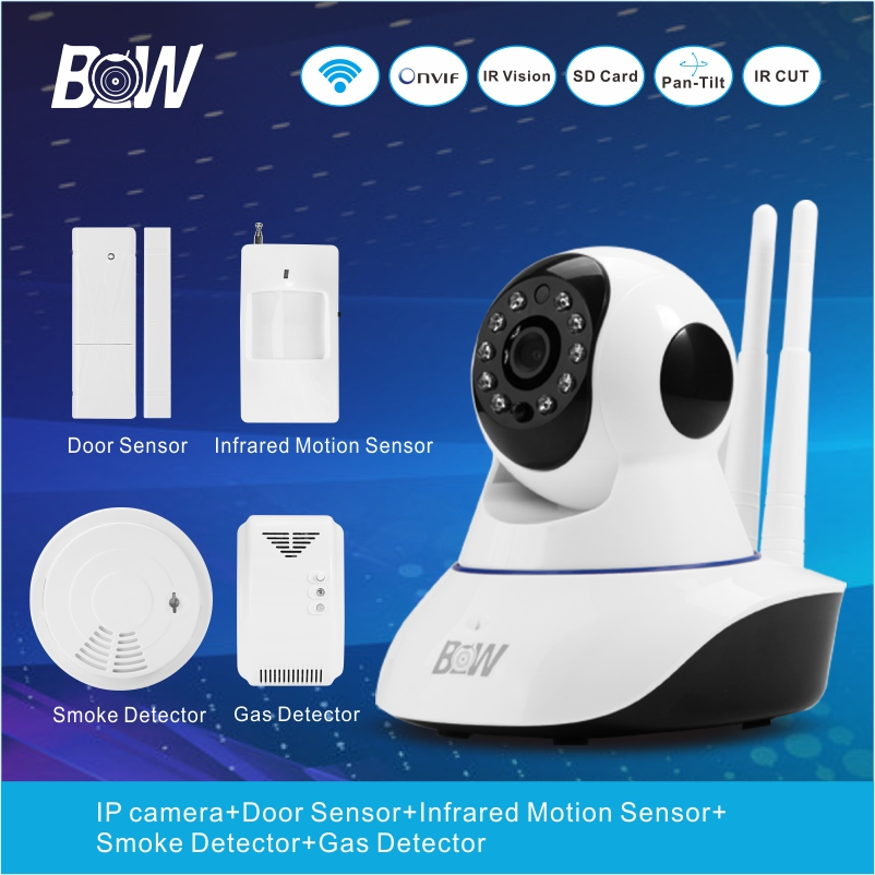 BW Surveillance WiFi IP Camera Wireless + Door/Infrared Motion Sensor/Smoke/Gas Detector 720P HD IP Camera WiFi  BW02D bw wireless wifi door