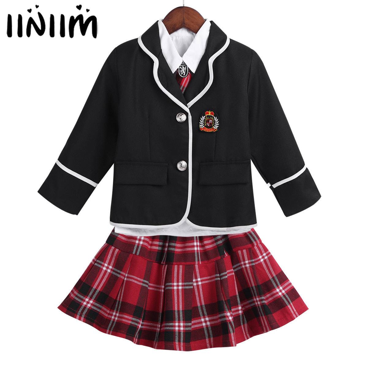 Kids Girls British Style School Uniform Anime Costume Suit Long Sleeve Coat With Shirt Tie Mini Skirt Set