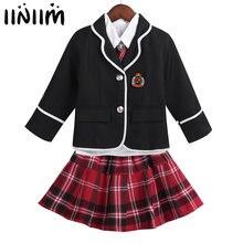 43e70dfd7 Niños Niñas de estilo británico uniforme de la escuela Anime traje de  abrigo de manga larga Camiseta corbata Mini falda