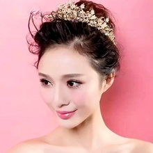 New Fashioon Handmade Beaded Crystal Rhinestone High Quality Crownpiece Multicolour Bride Hair Accessory Wedding Jewelry