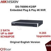 Hikvision Versione Inglese DS-7608NI-K2/8 P Incorporato Plug & Play 4 K NVR Supporto H.265 2 SATA 8MP 8POE 8CH Rete DHL LIBERA il Trasporto