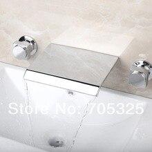 На бортике двойная ручка Водопад Ванная комната смеситель кран ванна 3 шт кран Набор Z1302