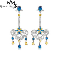 Queen Lotus 2018 Ethnic Long Dangle Earrings for Women Baroque Chandelier Earrings Jewelry Crystal Drop Earrings Big Adornment