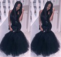 Black 2K16 Prom Dresses Halter Neck Sequins Topped Mermaid Backless Fiesta Longo Party Gowns Cheap 2016