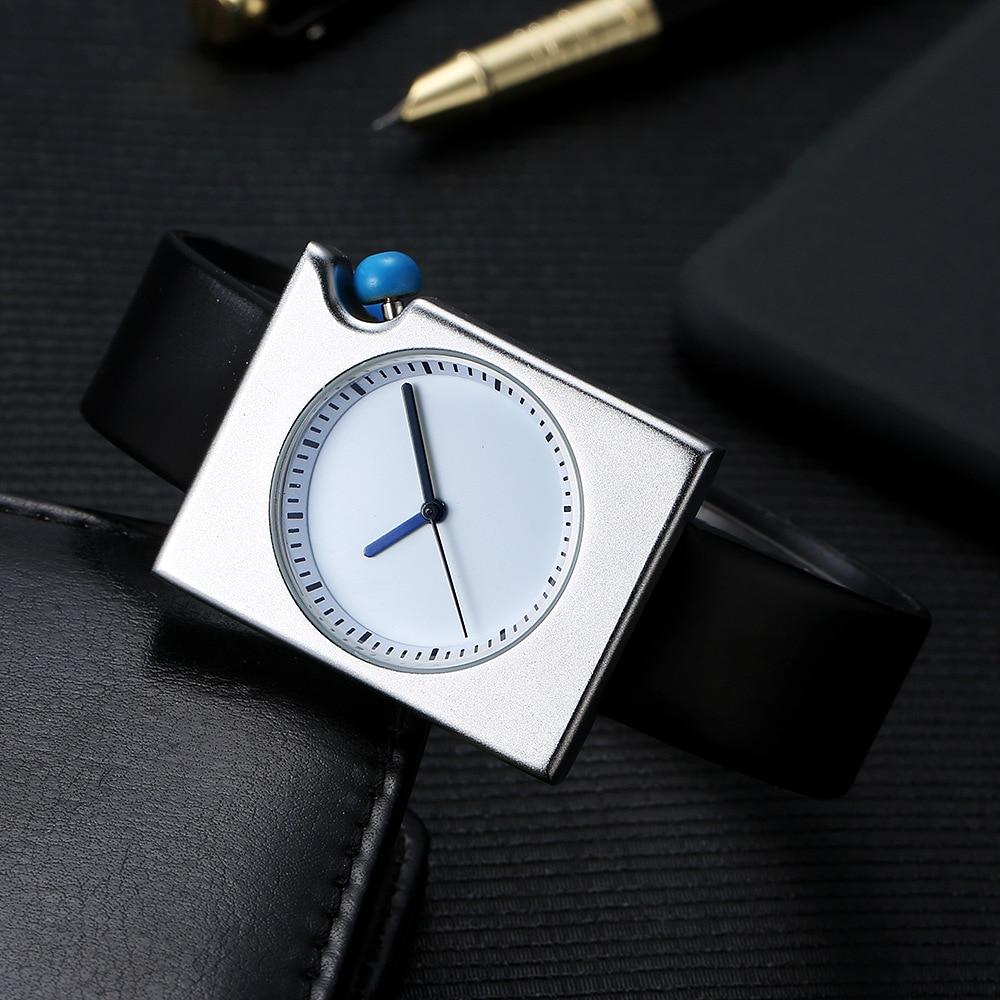 bc2e24b05f6 elegante 7 MM Ultra Fino Unisex Simples Relógio de Quartzo Das Mulheres Dos  Homens Pulseira de Couro Relógio de Pulso Feminino Relógio Minimalista  Quadrado ...