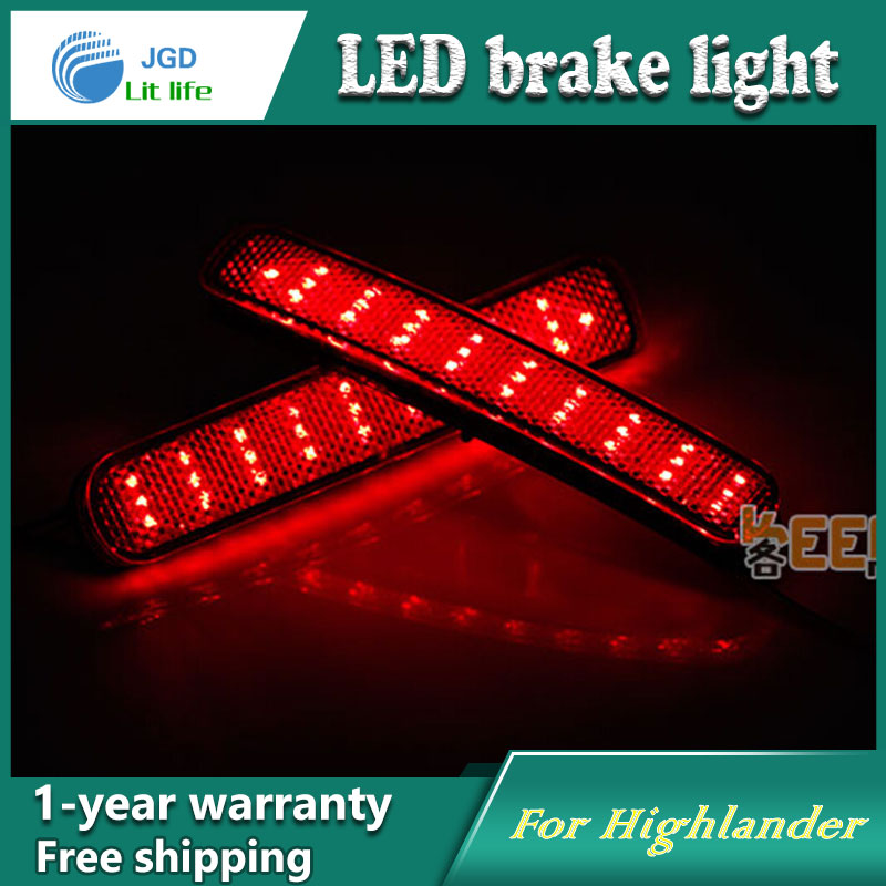 Car Styling Rear Bumper LED Brake Lights Warning Lights case For Toyota Highlander 2012 2013 Accessories Good Quality for toyota highlander iii 2014 2016 automobile stainless rear bumper cover decoration car styling stickers accessories
