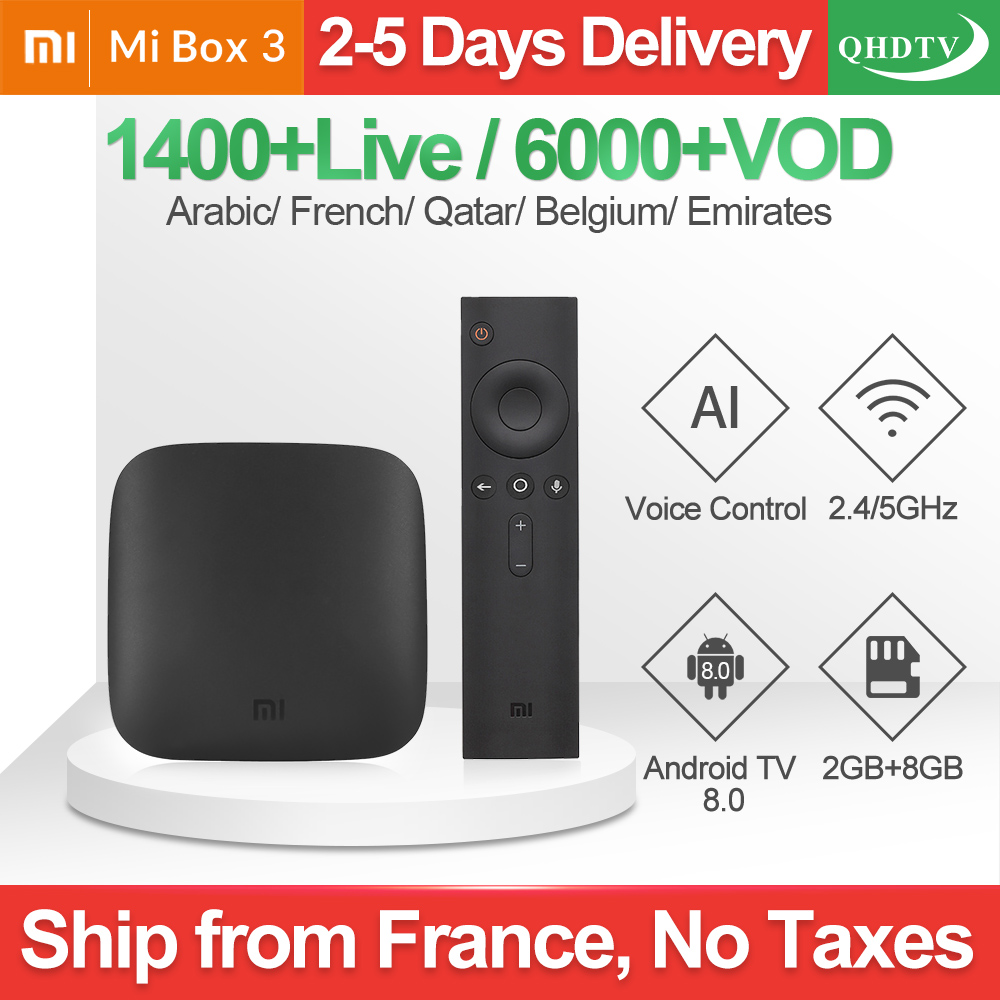 Xiaomi MI BOX 3 IPTV France Arabic Android TV 8.0 WIFI BT 4K H.265 QHDTV IPTV Box 1 Year IPTV Belgium Dutch French IP TV Xiaomi