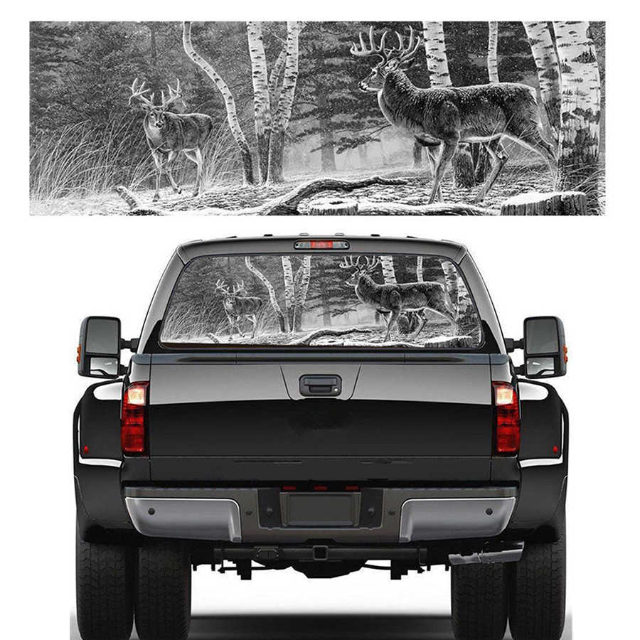 22x65rear window graphic decal forest animals deer hunting rear window sticker for