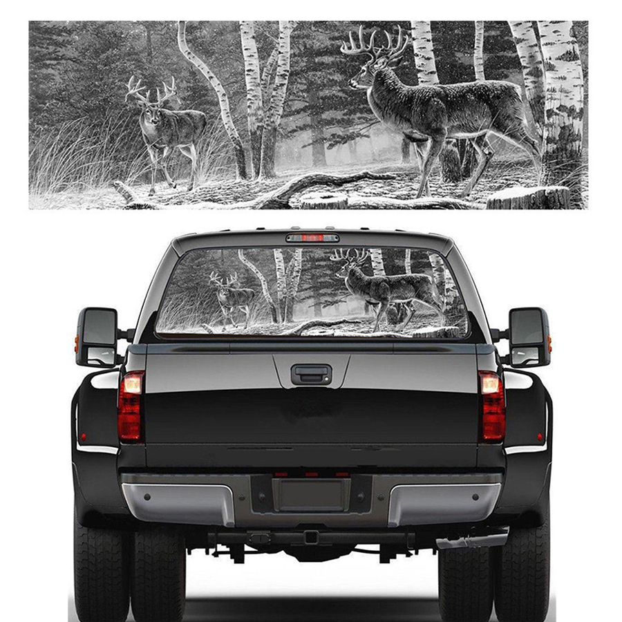22x65Rear Window Graphic Decal Forest Animals Deer Hunting Rear Window Sticker for Truck suv Jeep