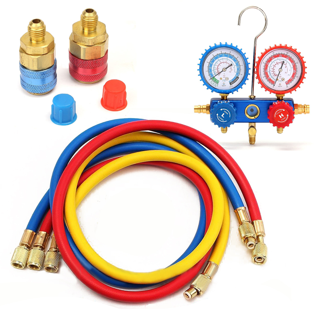 1 Set Car Manifold Gauge 1/4 SAE with 90cm Charging Hoses Kit Set For R134A Refrigerant Air Conditioning A/C System air conditioning pressure indicator with charging hoses