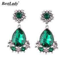 Best lady Luxury Fashion Jewelry Bohemian Statement Wedding Earrings For Women Multi Color Crystal Dangle Earrings Drop Charms