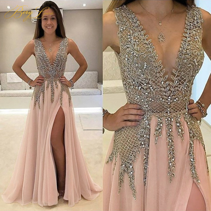 BeryLove Chamapgne Long Glitter Evening Dress 2019 Low Gown Formal Party Dress Prom Special Occasion Open