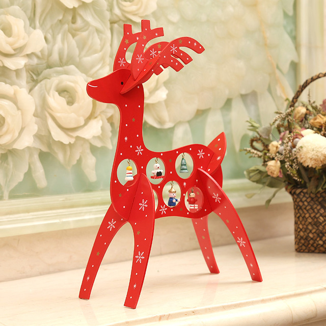 2017 wood christmas ornaments deer elk wooden table decor party home christmas crafts toy supplies decoration - Wooden Christmas Crafts