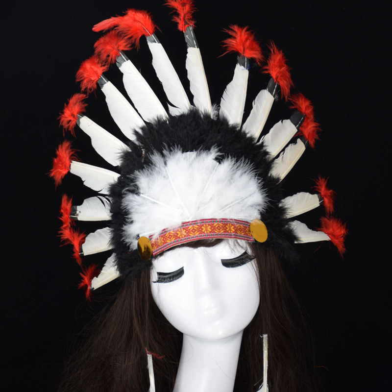 alloween Carnival Day Indian Villus Chief Headdress Colorful Feather Party Hats Headband Caps Supplies Costume Carnival Party (4)