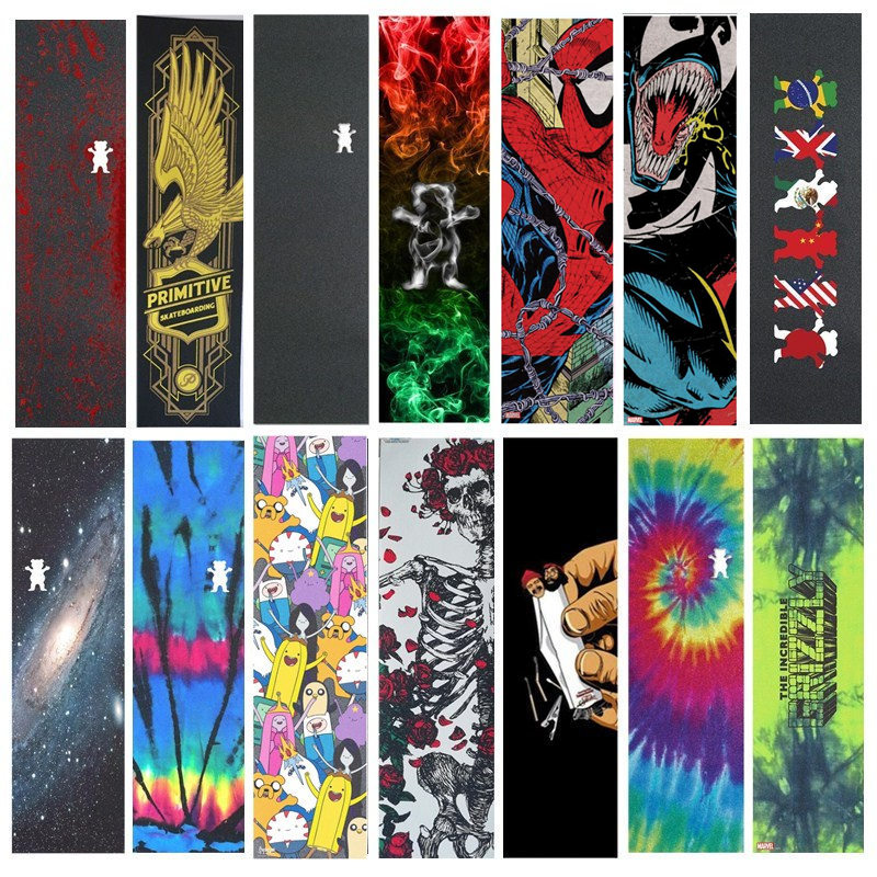 9x33 Inch Skateboard Grip Tape Multi Graphic Scooter Griptapes Penny Board Sandpaper Skate Deck Protection Professional Grips