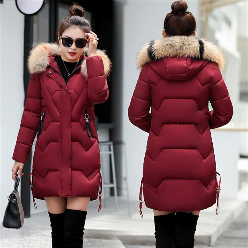 Womens Winter Jackets And Coats 2018   Parkas   For Women 6 Colors High Quality Jackets Warm Outwear With Hood Faux Fur Collar
