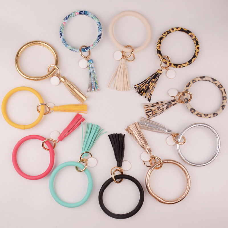 Rainbery New Fashion Multiful Tassel Keychain Enamel PU Leather O Key Chain Monogram Circle Wristlet Keychain For Women Girls