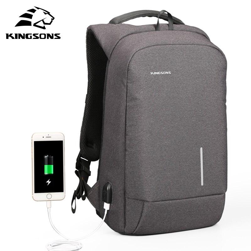 Kingsons  USB Charging Backapcks School Backpack Laptop Computer Bags Men Women Travel Bags Backpack For Laptop Knapsack KS3149W