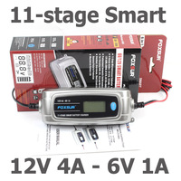 FOXSUR 6V 12V Car Battery Charger With LCD Display 11 Stage Smart Battery Charger Children Electric