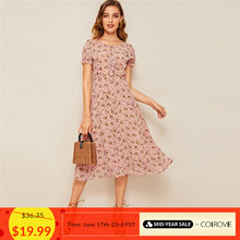 COLROVIE Pink Ditsy Floral Print Tie Neck Ruffle Boho Long Dress Women 2019 Summer Puff Sleeve Fit and Flare Vintage Dresses(China)