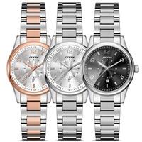 SINOBI Women S Business Stainless Steel Wrist Watches Rose Gold Band Surface Waterproof Female S Bracelet